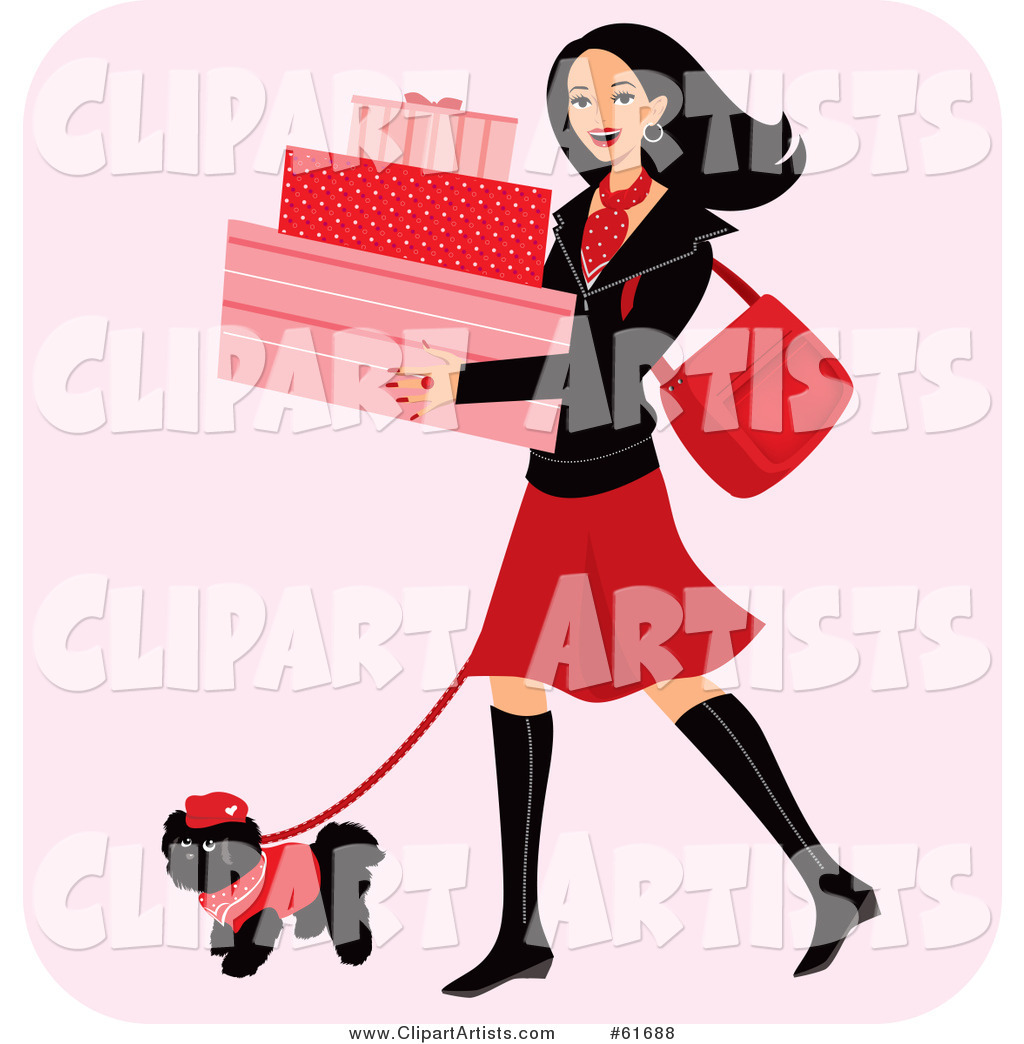 Happy Woman Carrying Boxes and Walking Her Dog While Shopping