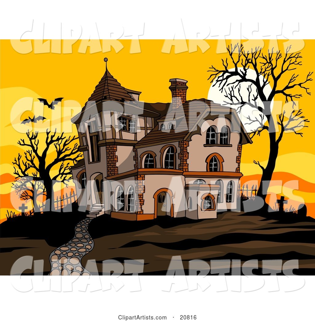 Haunted Spooky Halloween Mansion at Sunset with Flying Bats, Bare Trees and Silhouetted Headstones