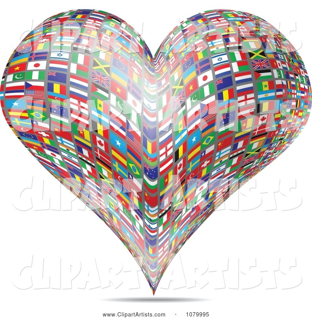 Heart Made of National Flags