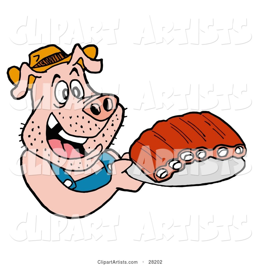 Hillbilly Pig in Overalls, Eating Ribs