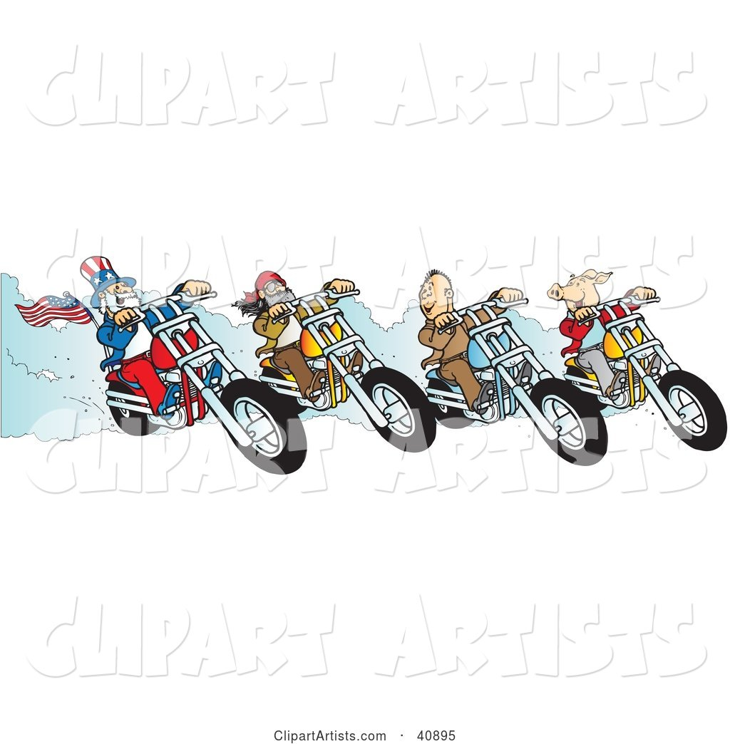 Hog, Two Biker Dudes and Uncle Sam Racing Choppers