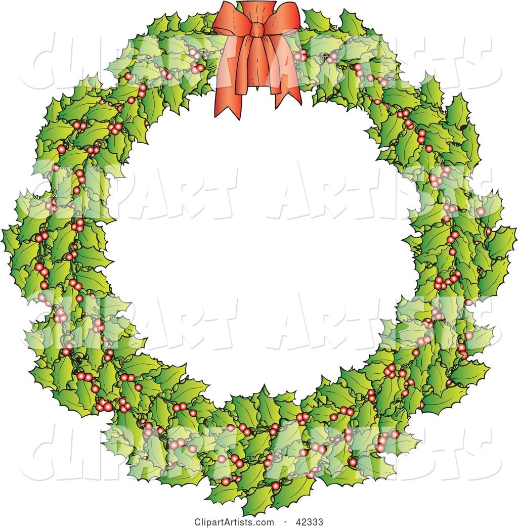 Holly Christmas Wreath with a Red Bow