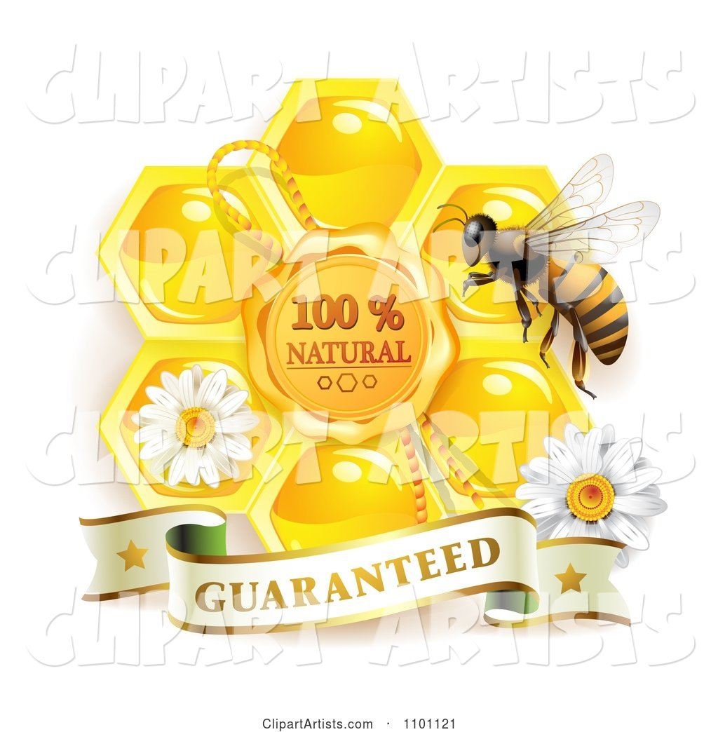 Honey Bee with a Natural Honeycomb and Guaranteed Banner