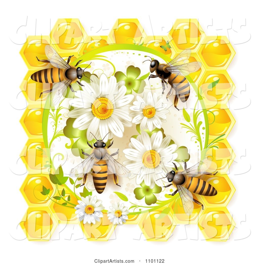 Honey Bees on Daisies Clovers and Honeycombs
