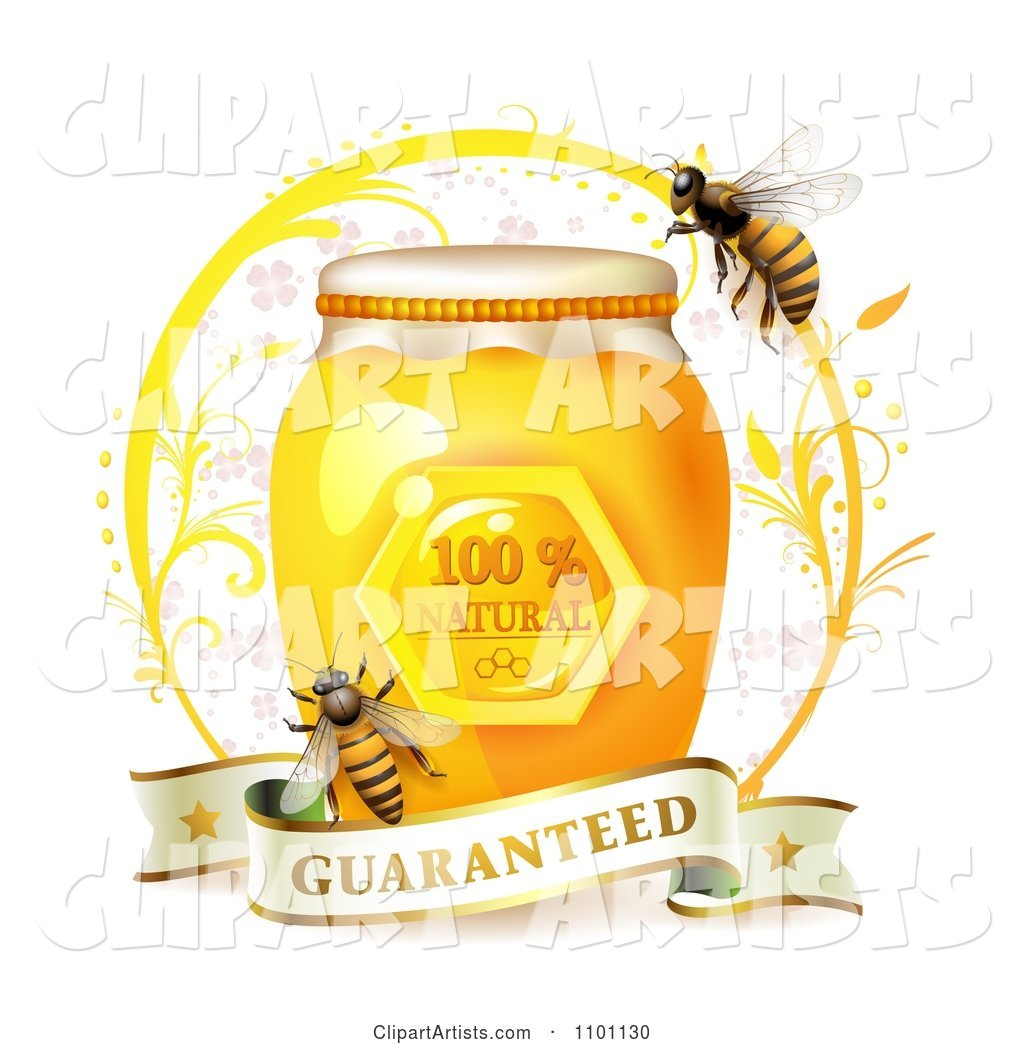 Honey Bees over a Jar with a Guaranteed Banner