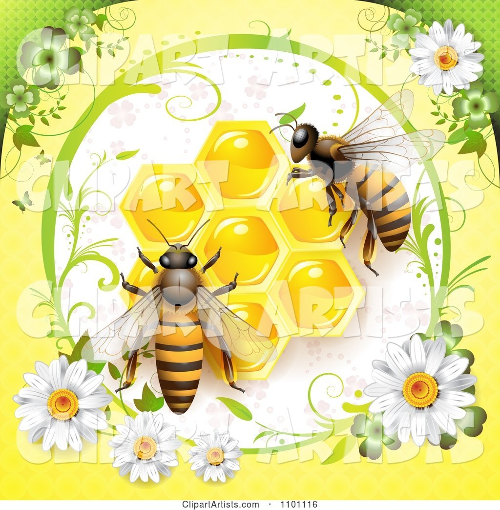 Honey Bees over Honeycombs in a Diasy Frame on Yellow