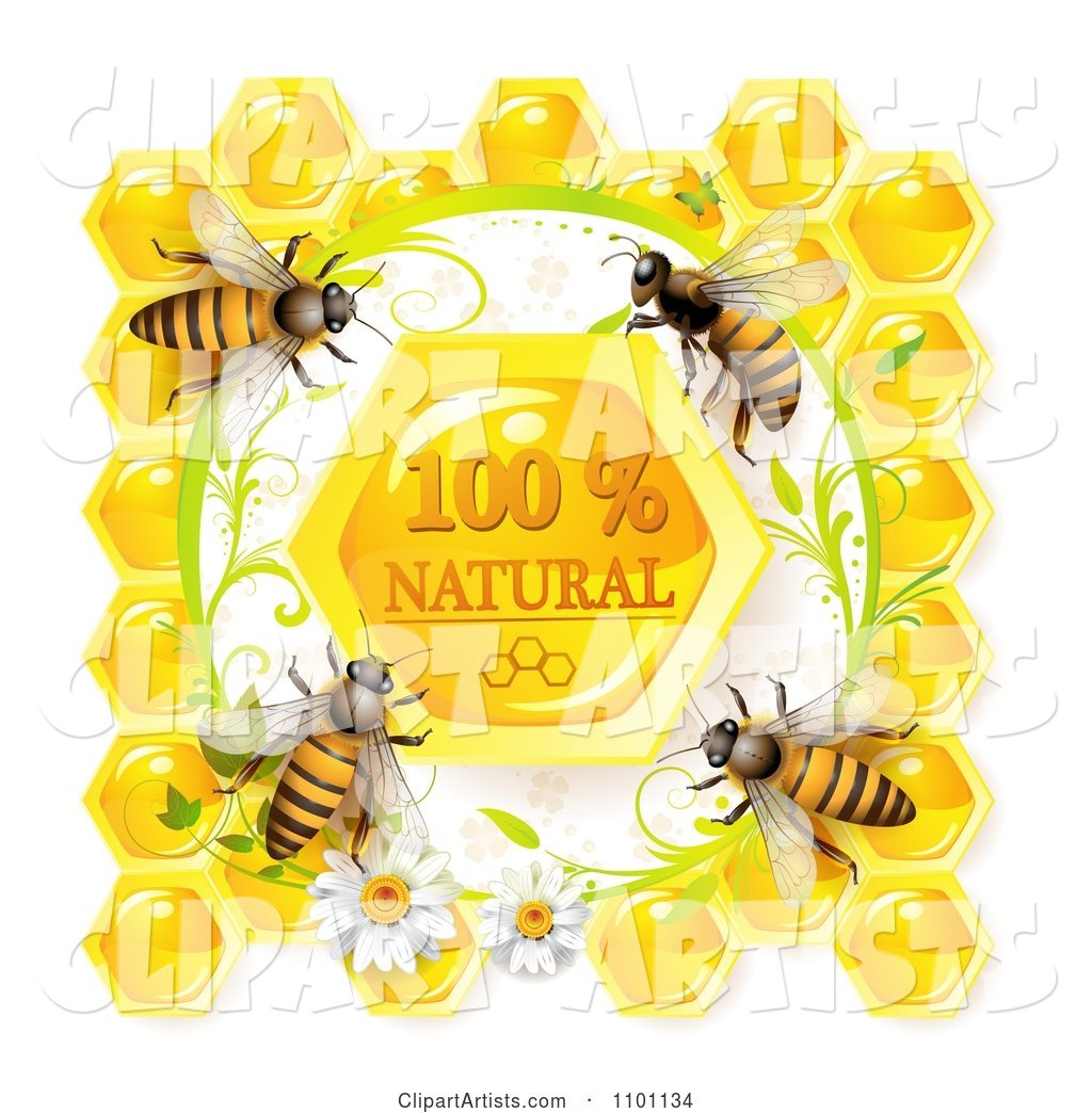 Honey Bees over Natural Honeycombs in a Daisy Frame