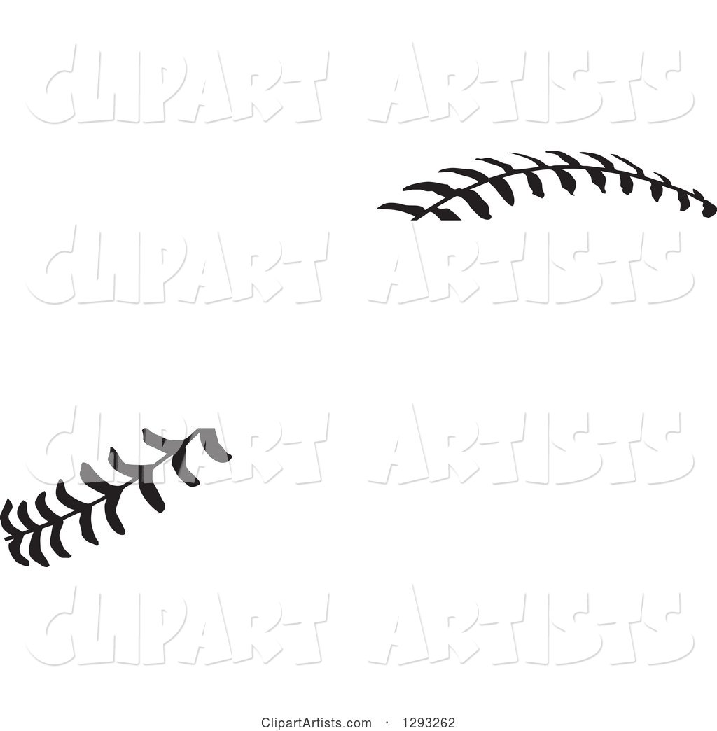 Horizontal Black and White Baseball Stitching with a Gap for Text
