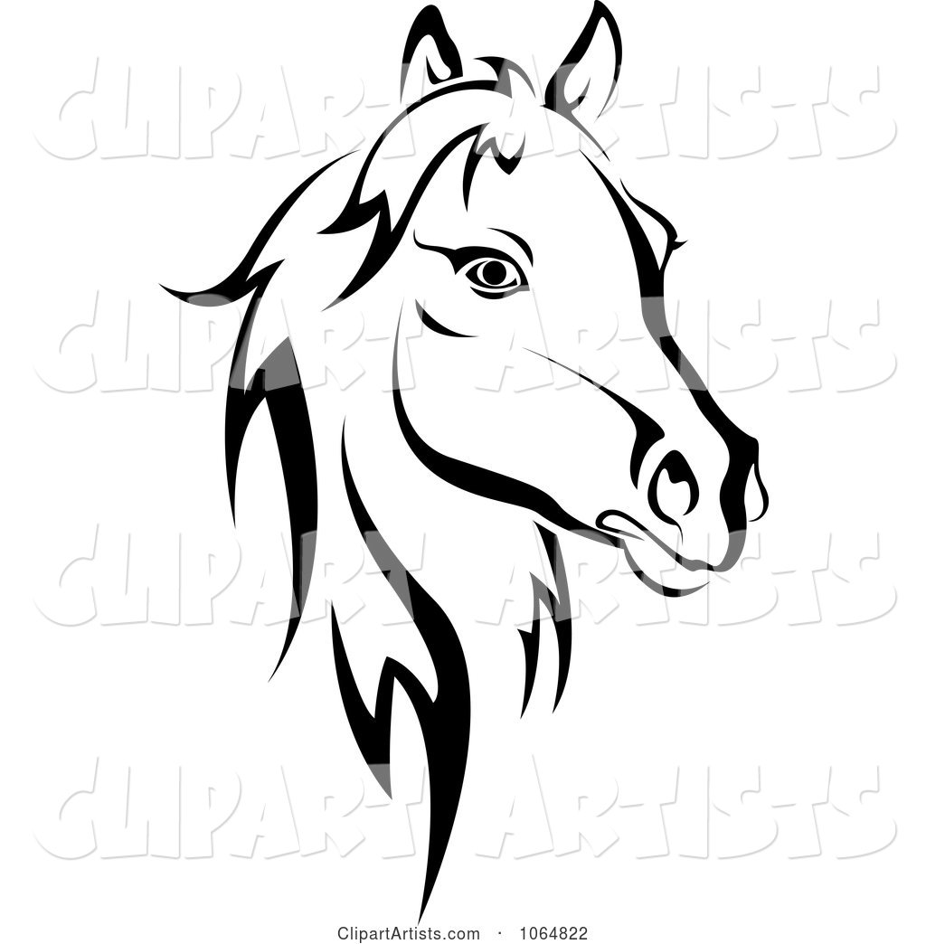 Horse Head Logo in Black and White 2