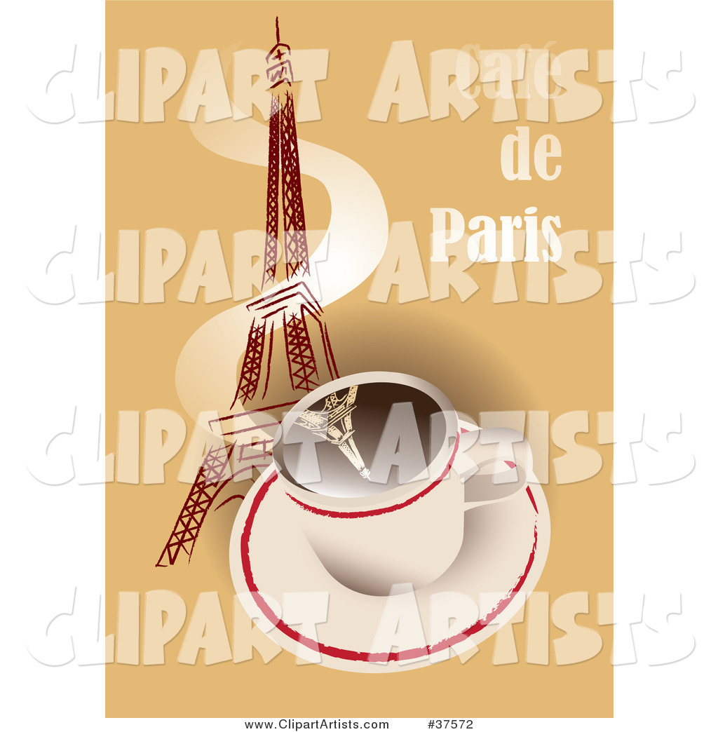 Hot Cup of Coffee with Steam Winding up the Eiffel Tower on a Cafe De Paris Background