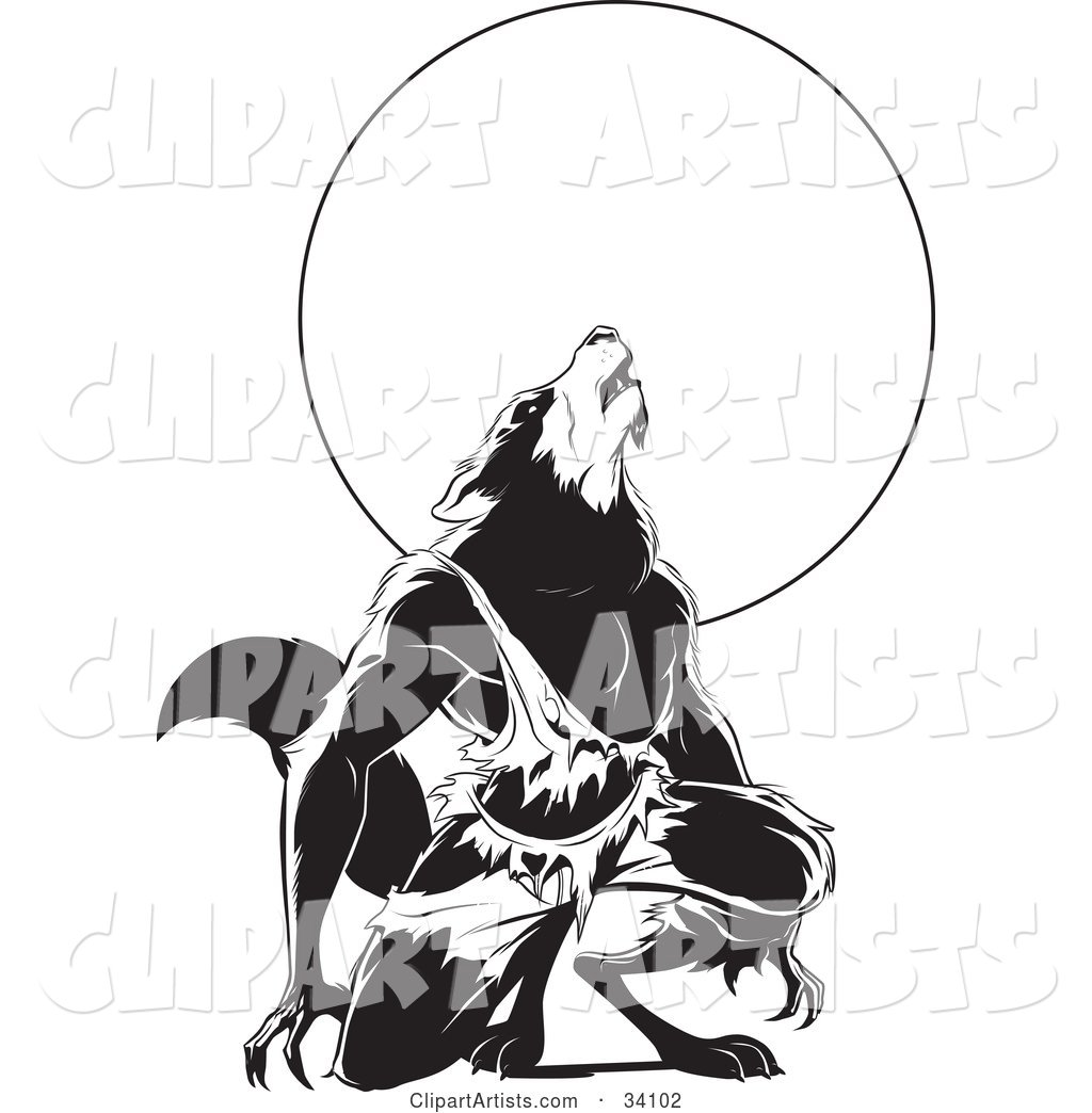 Howling Wolfman in Torn Clothes, Kneeling in Front of a Full Moon