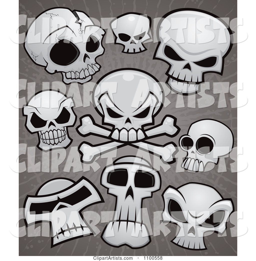 Human Skulls and Cross Bones over Grungy Gray
