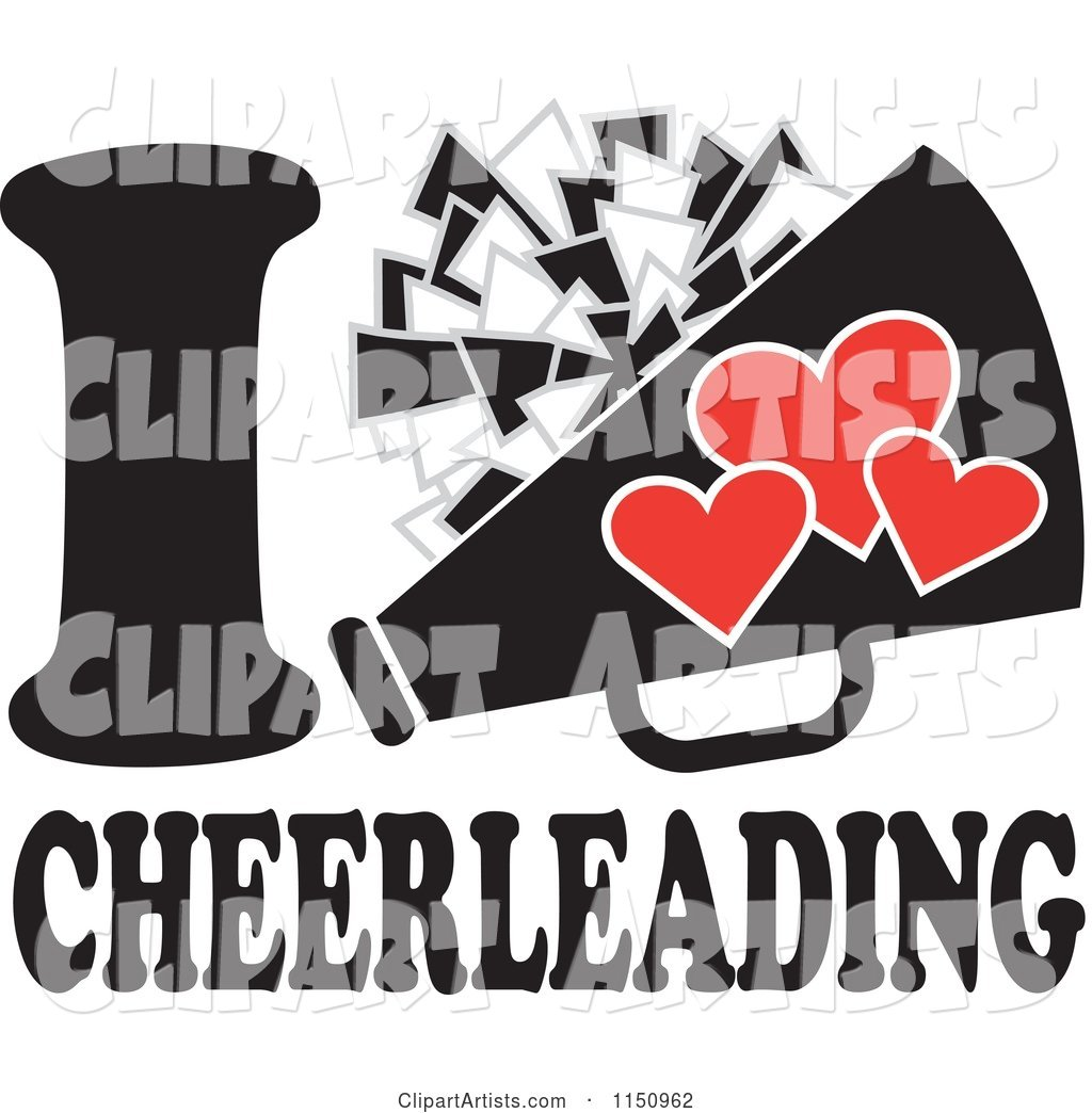 I Heart Cheerleading with a Pom Pom and Megaphone