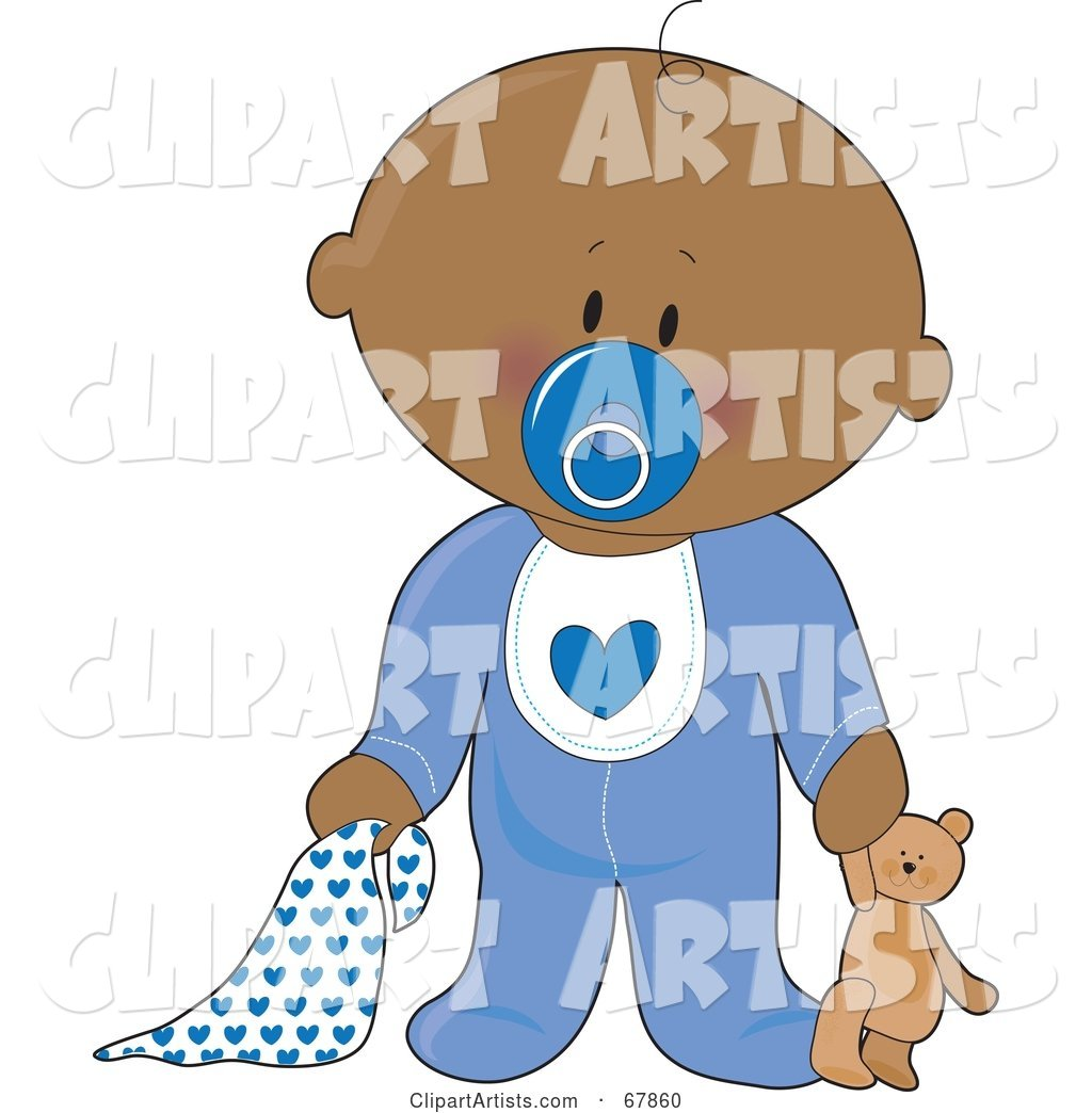 Innocent Black Baby Boy with a Teddy Bear, Pacifier and Blanket