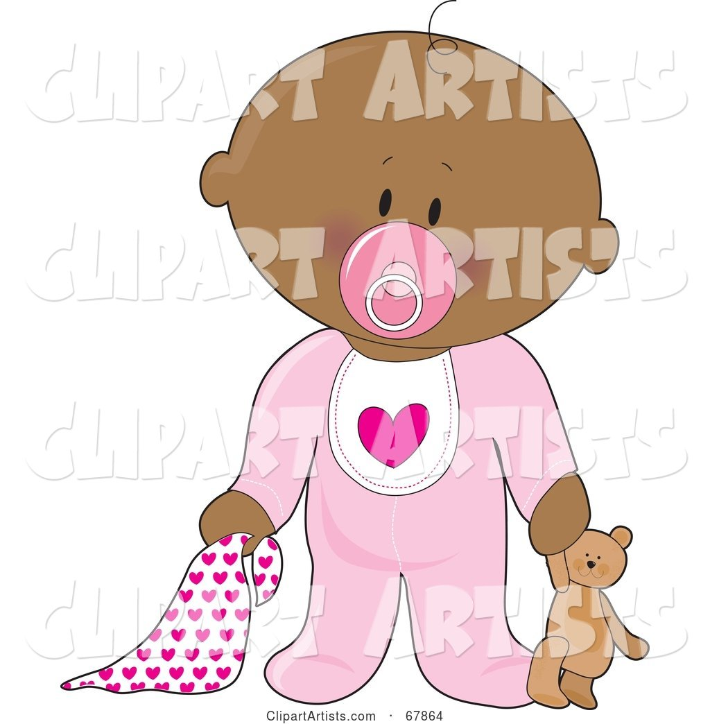 Innocent Black Baby Girl with a Teddy Bear, Pacifier and Blanket