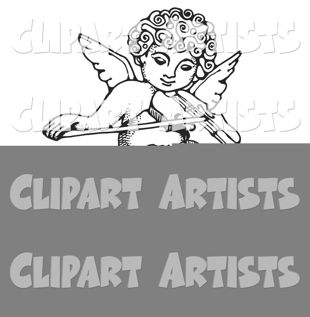 Innocent Cherub with Curly Hair, Flying and Playing a Violin