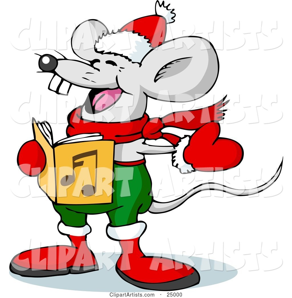 Jolly Mouse in Red and Green, Wearing Mittens and a Scarf, Singing Christmas Carols on Xmas Eve