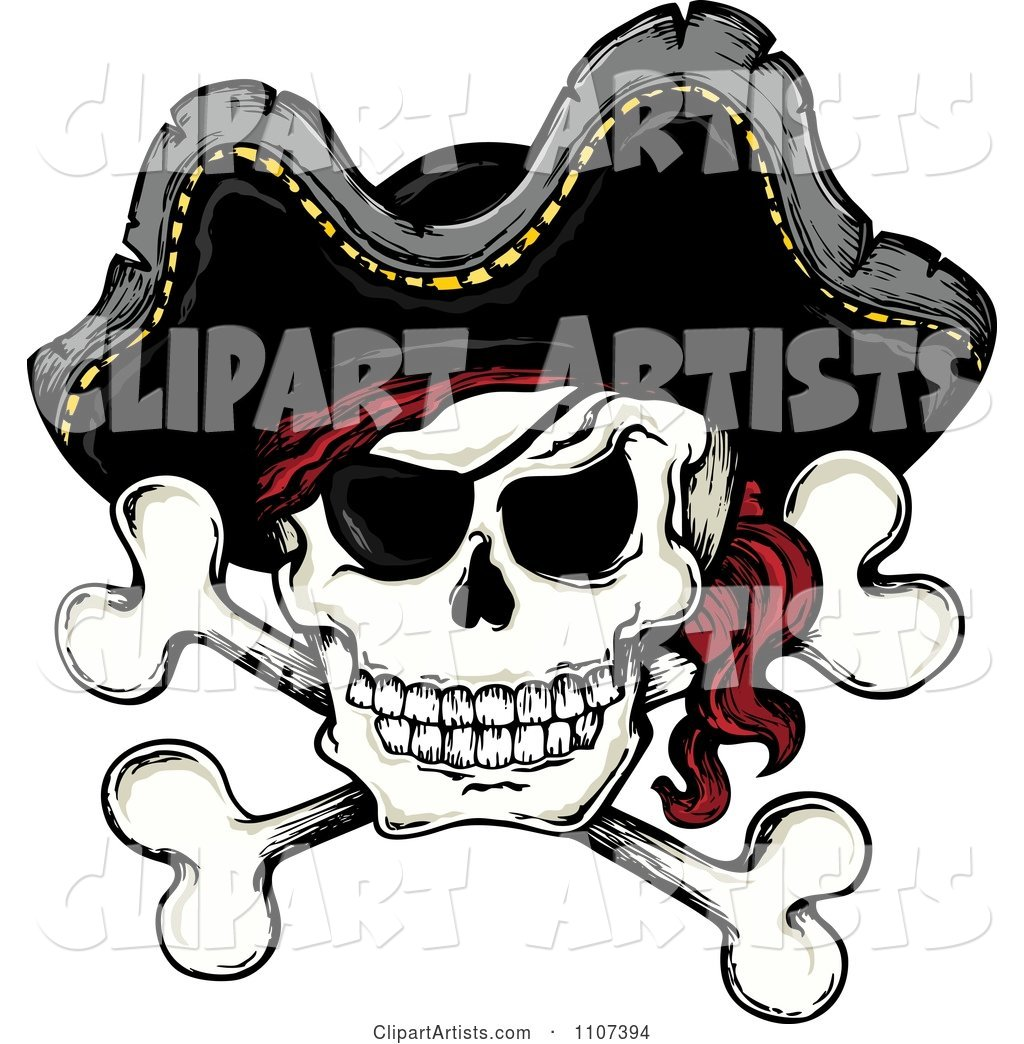 Jolly Roger Pirate Skull and Cross Bones with a Hat