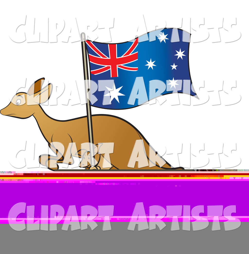 Kangaroo and Joey with an Aussie Flag - 2