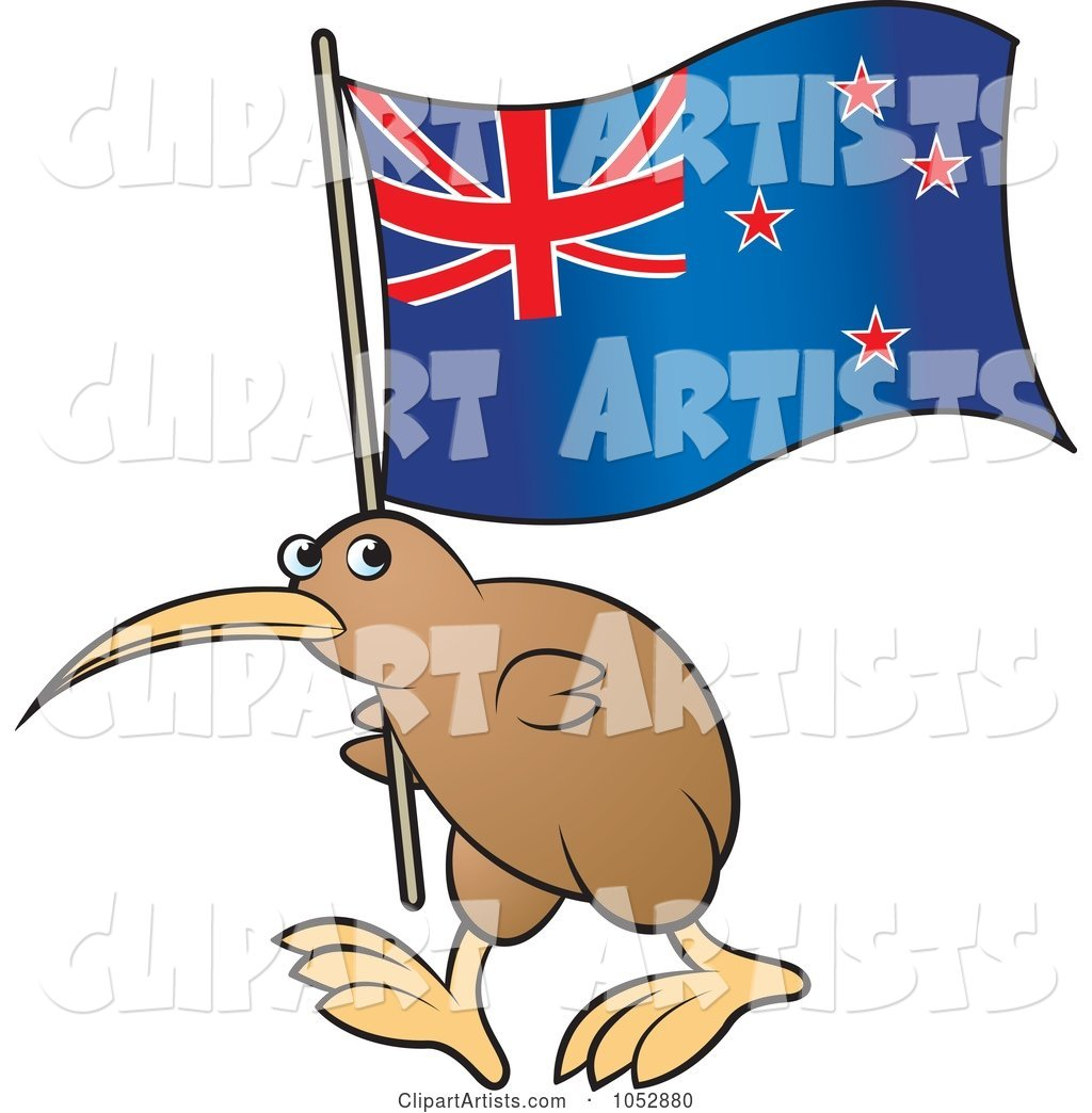 Kiwi Bird with a New Zealand Flag - 1