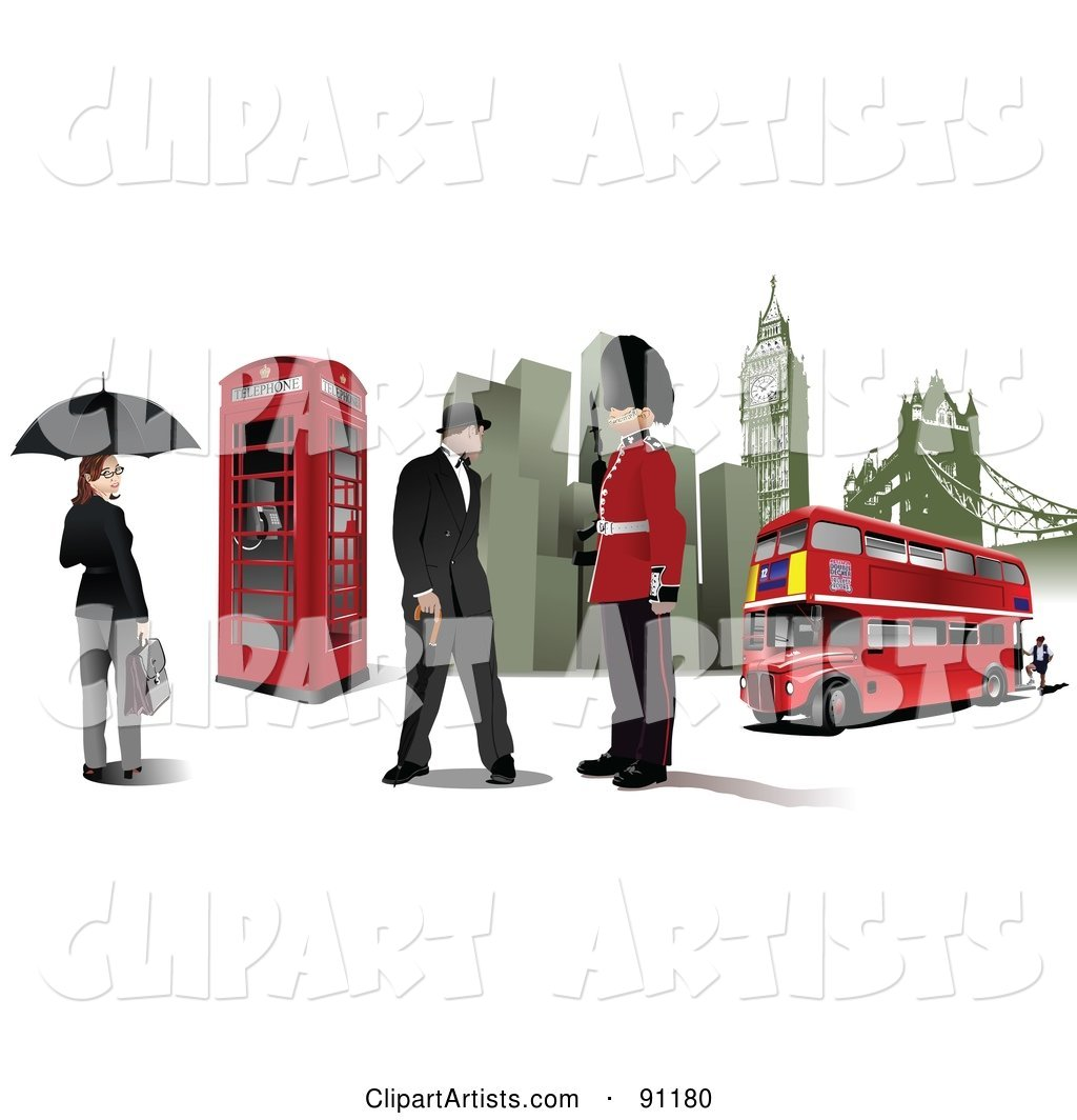 Lady, Phone Booth, Gentleman, Guard, Buildings and Double Decker in London