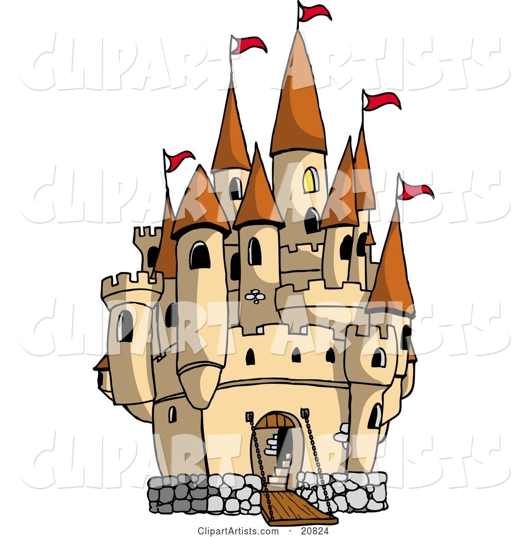 Large Castle with the Gate down for Visiters and Red Flags Flying from the Towers