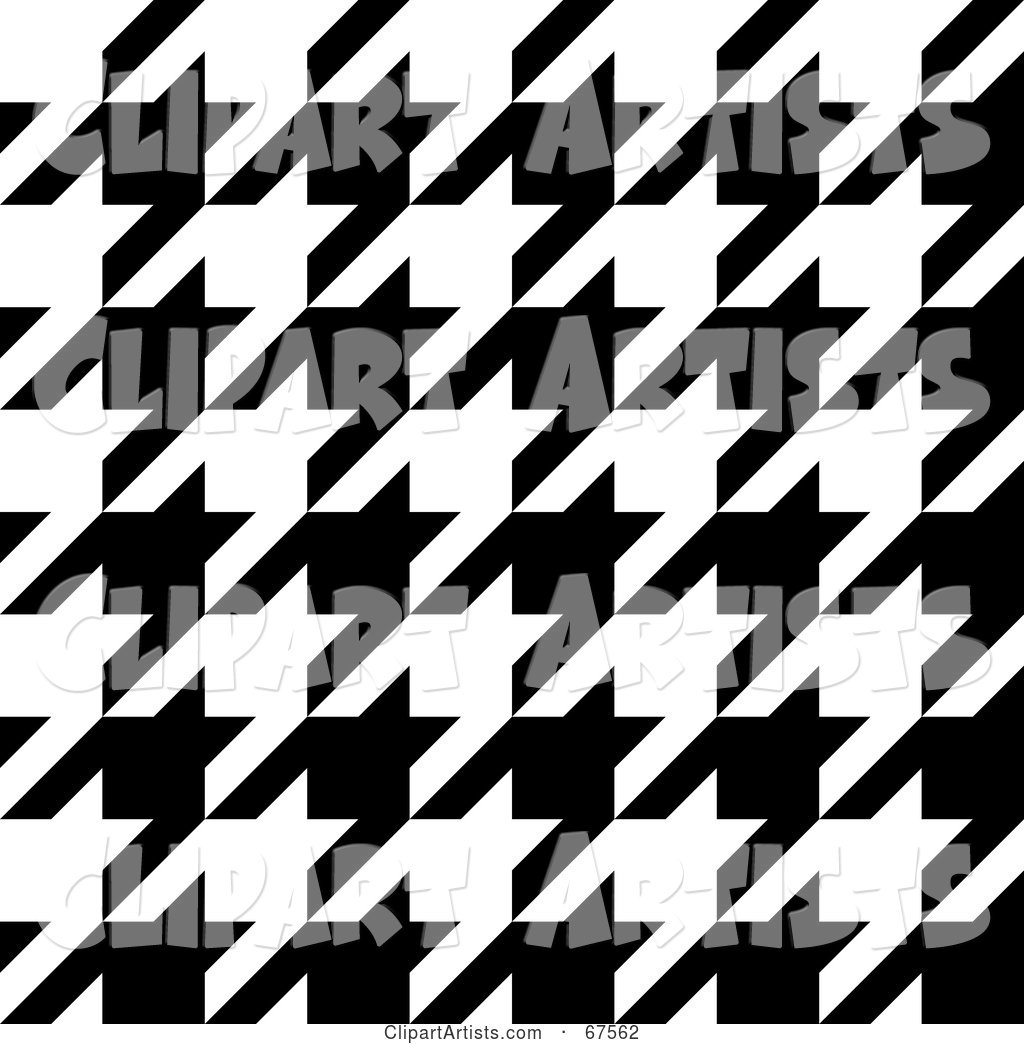 Large Weave Black and White Houndstooth Patterned Background