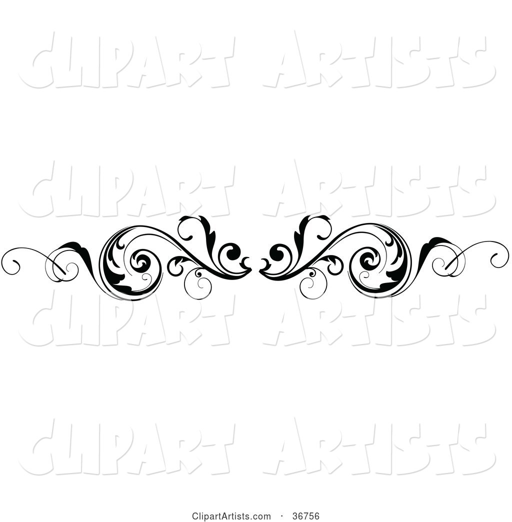 Leafy Black and White Scroll Lower Back Tattoo Design or Flourish with Tendrils