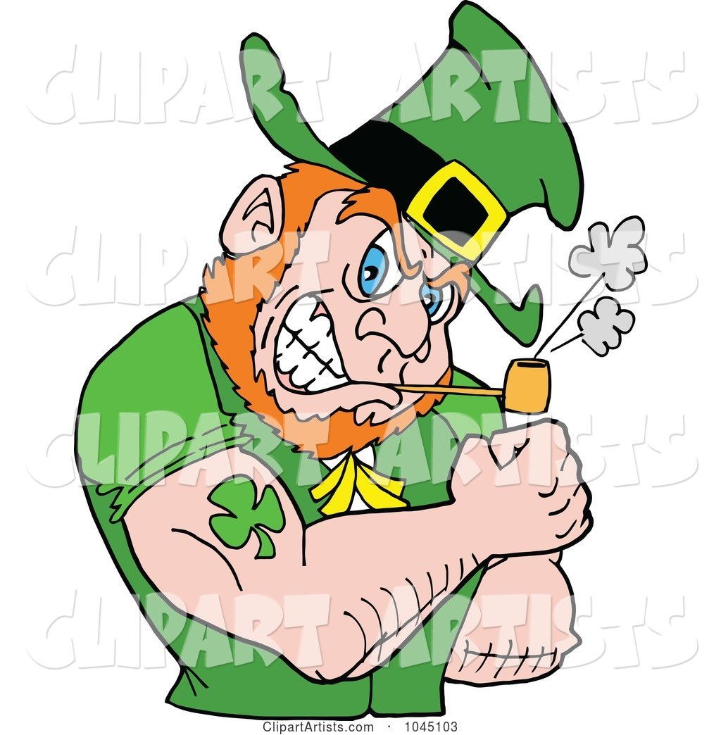 Leprechaun Smoking a Pipe and Flexing His Tattooed Arm