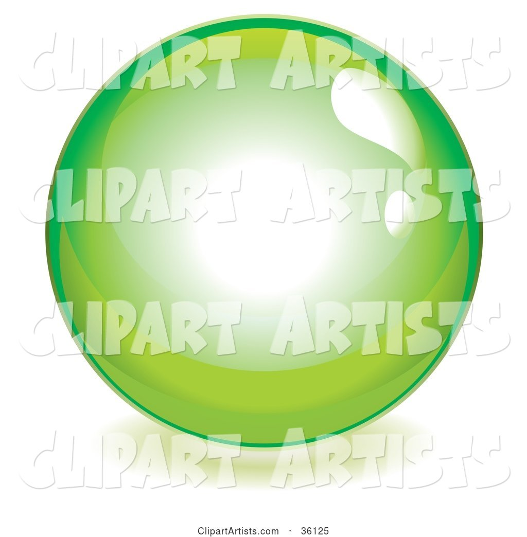 Lime Green Reflective Crystal Ball, Marble or Orb