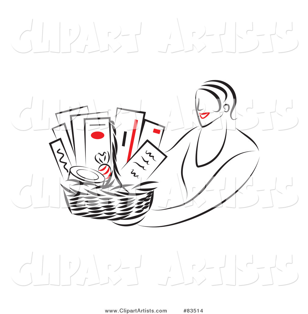 Line Drawing of a Red Lipped Woman Holding out a Gift Basket