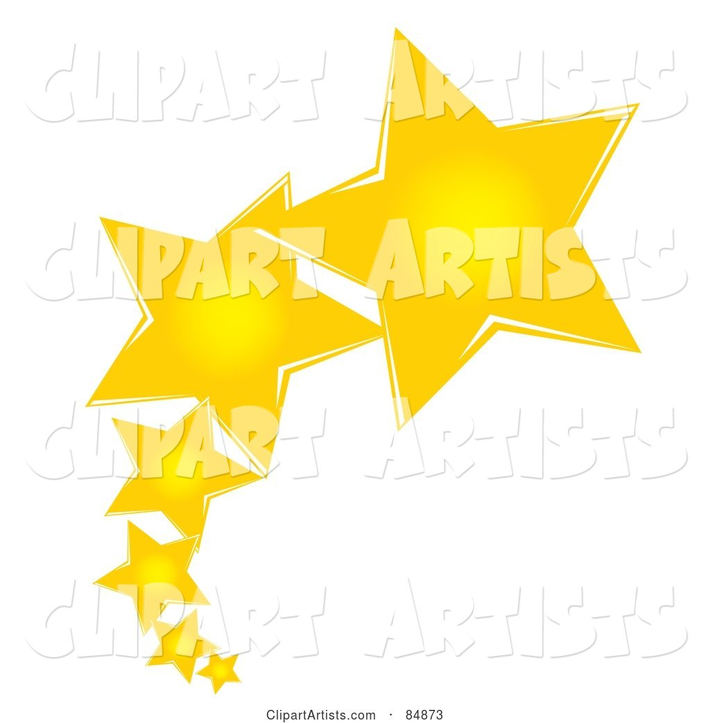 Line of Shooting Yellow Stars