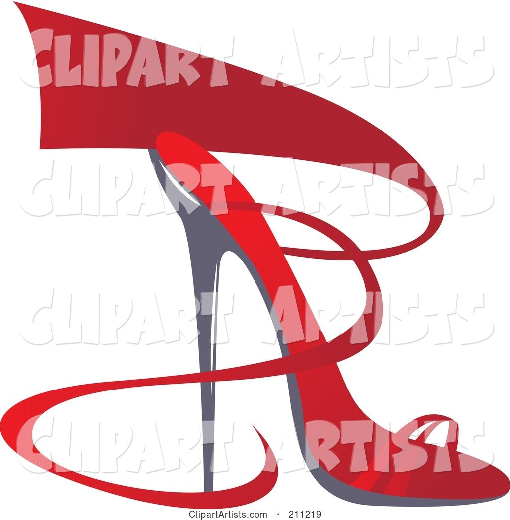 Logo Design of a Red Ribbon and Heel Shoe
