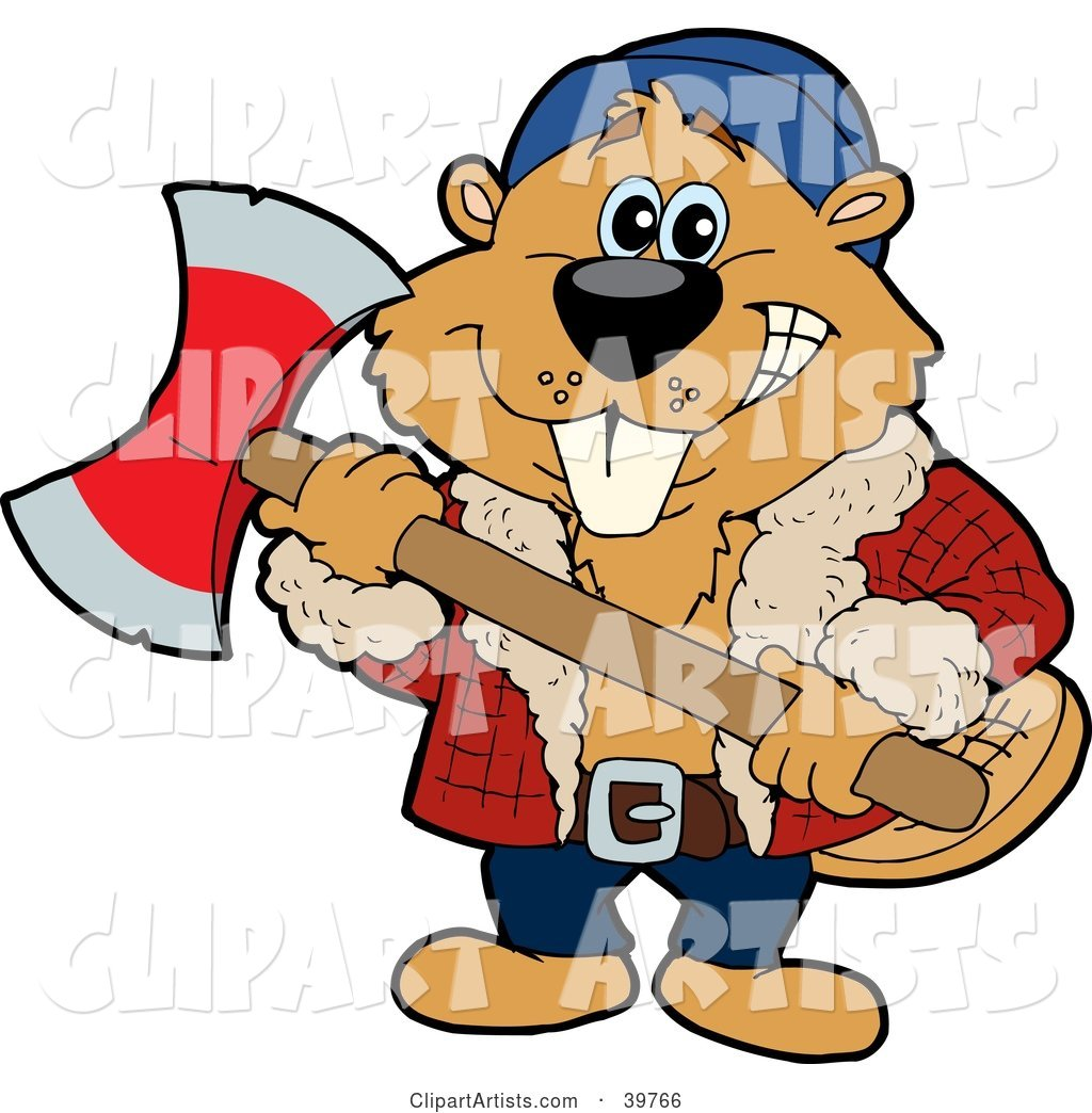 Lumberjack Beaver Holding an Axe and Preparing to Cut Wood