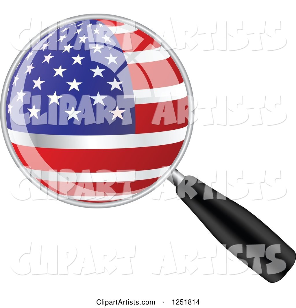 Magnifing Glass with an American Flag