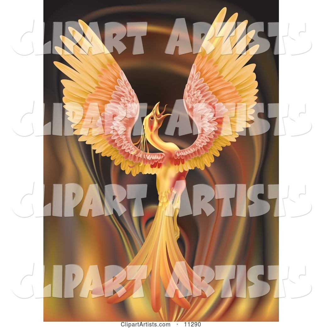 Majestic Phoenix Firebird Stretching Its Wings over a Fiery Background