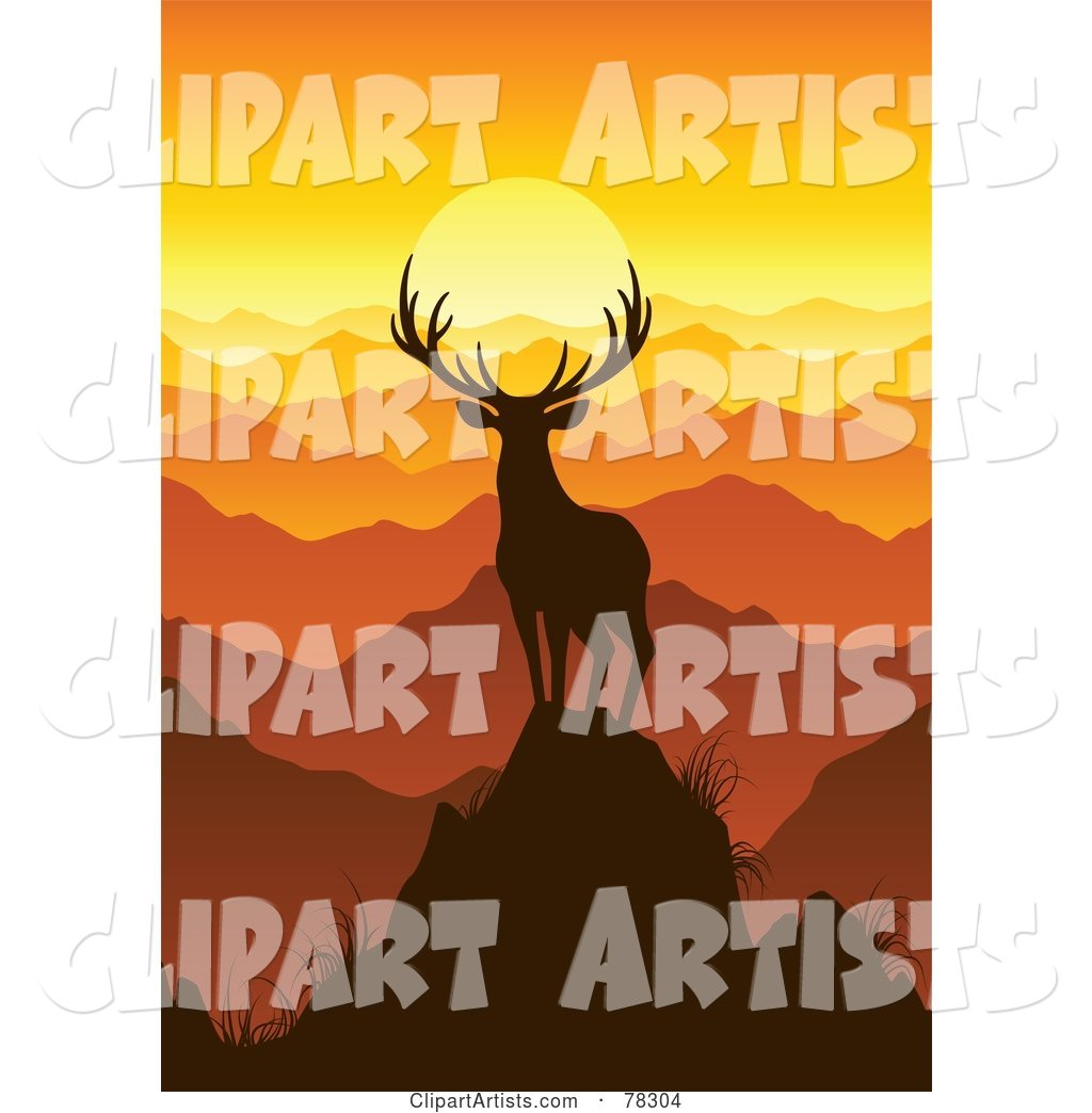 Majestic Silhouetted Buck Deer on Top of a Mountain, Looking out onto Mountain Tops at Sunset