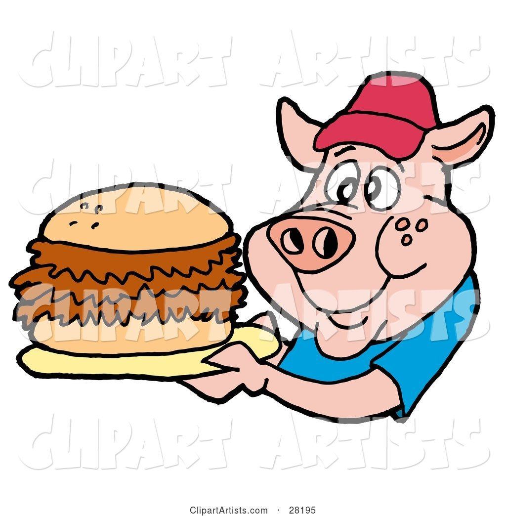 Male Pig in a Red Hat and Blue Shirt, Holding a Giant Pulled Pork Sandwich