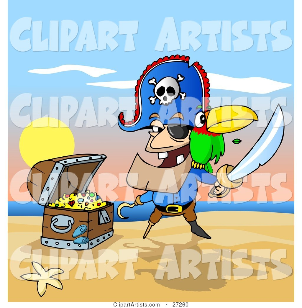 Male Pirate with Two Teeth, a Hook Hand and Peg Leg, Holding a Sword and Defending His Treasure Chest on a Beach, a Parrot on His Shoulder