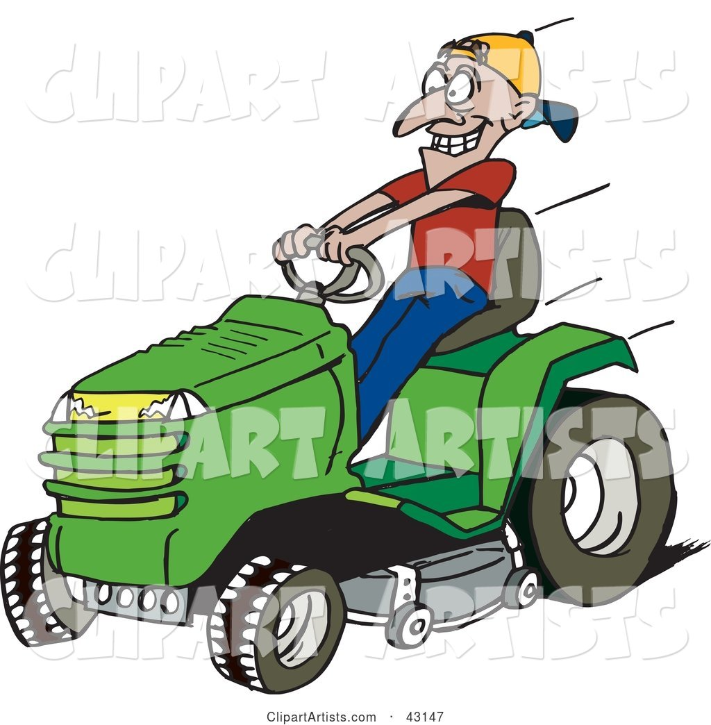 Man Driving a Fast Green Riding Lawn Mower