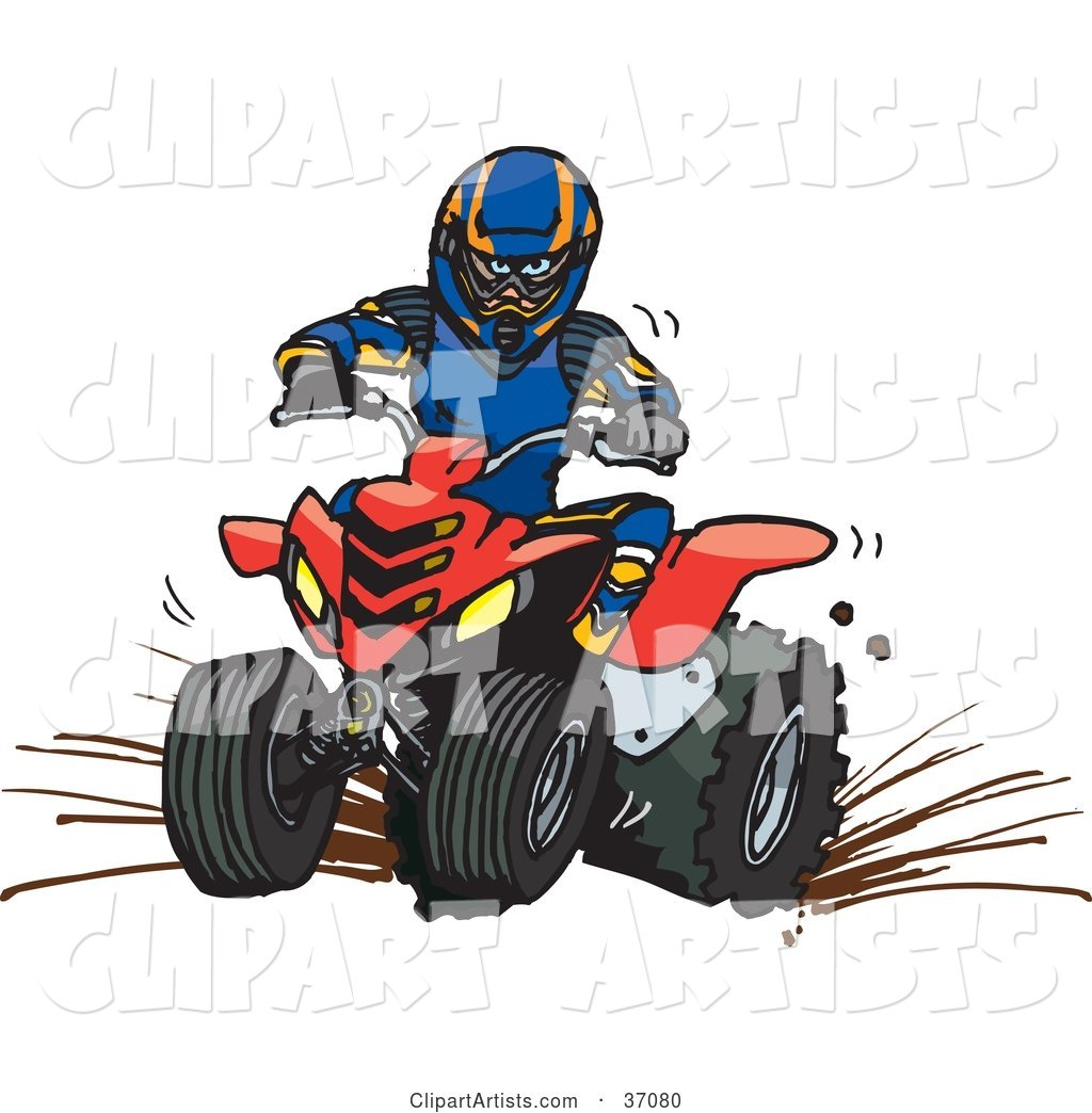 Man in Safety Gear, Riding a Red Quad Through Mud