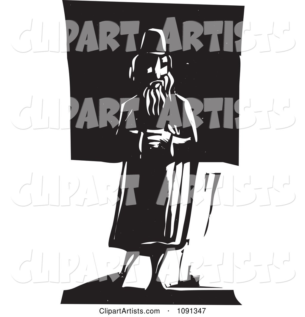 Man Standing Alone Black and White Woodcut