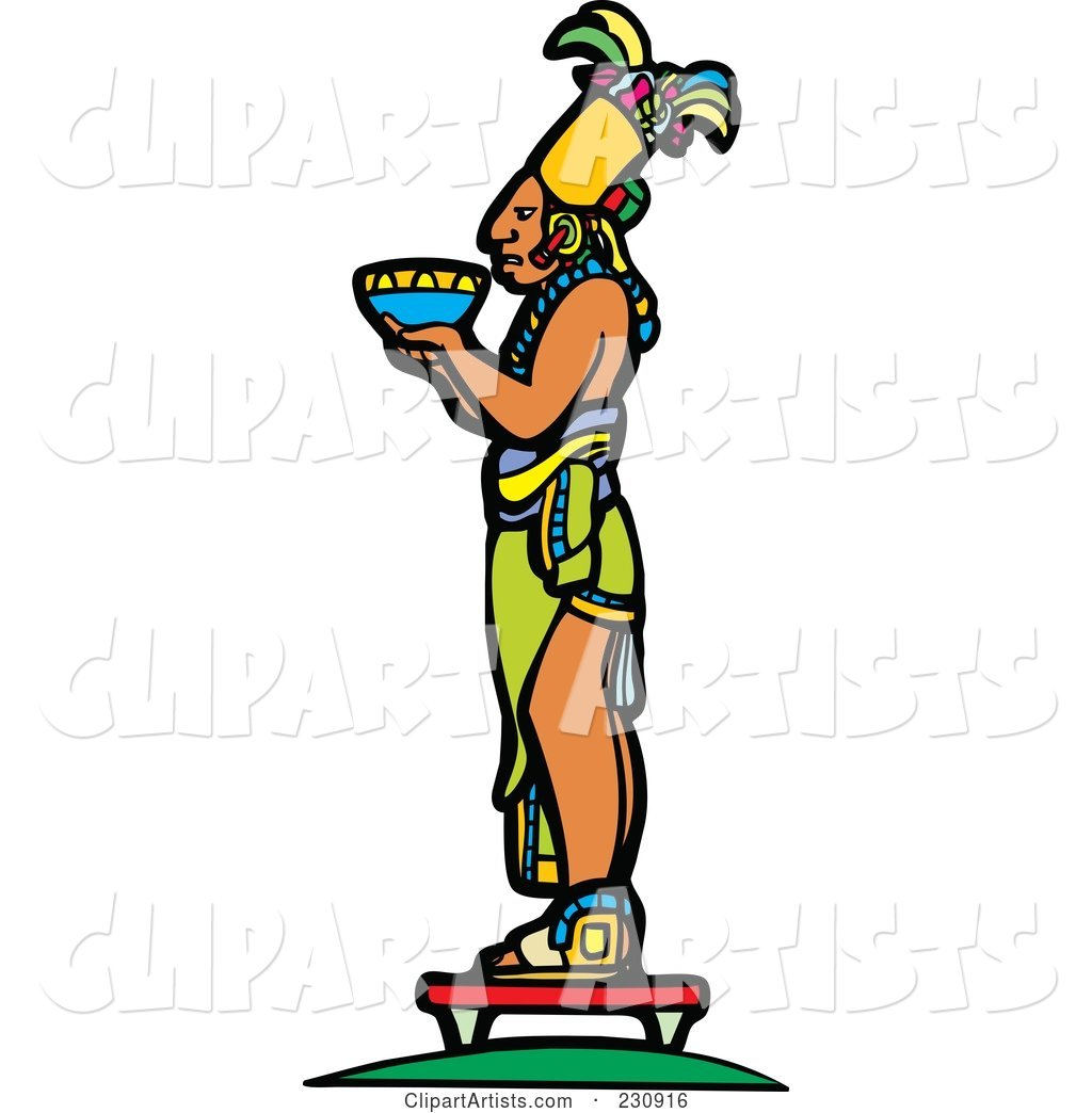 Mayan King Holding an Offering - 2