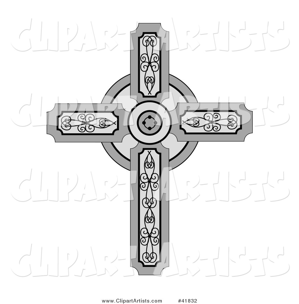 Medieval Christian Cross with Ornate Designs