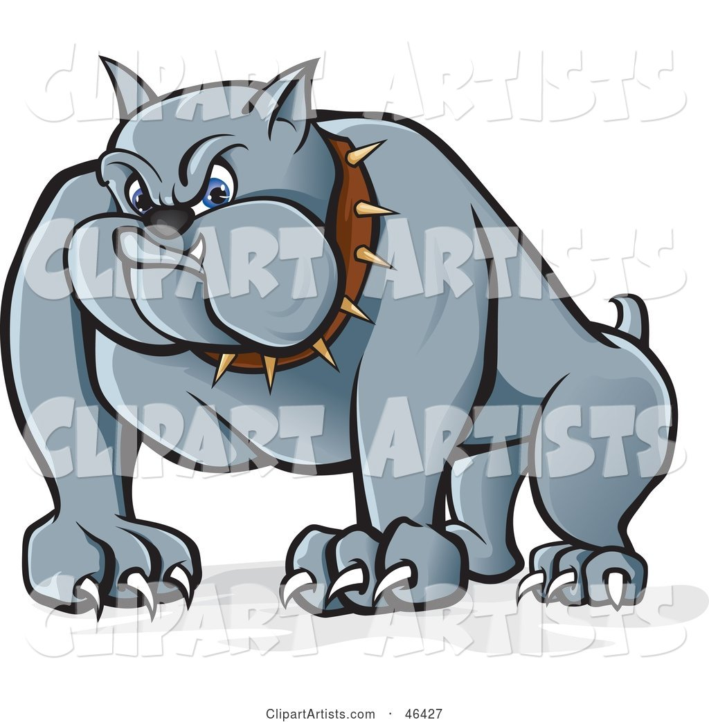 Menacing Gray Bulldog with Long Claws and a Spiked Collar
