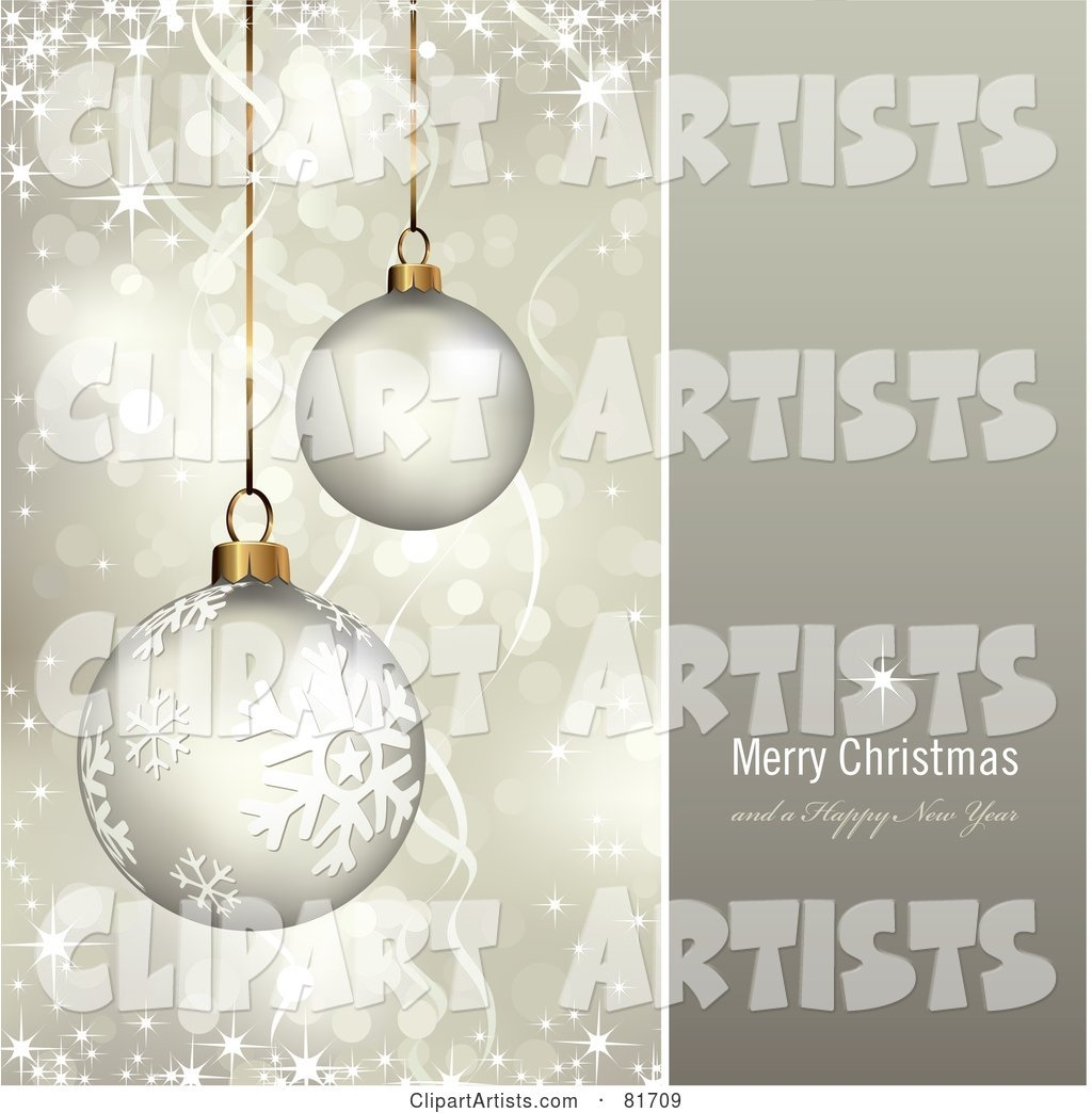 Merry Christmas and a Happy New Year Greeting with Sparkling Gold Christmas Ornaments