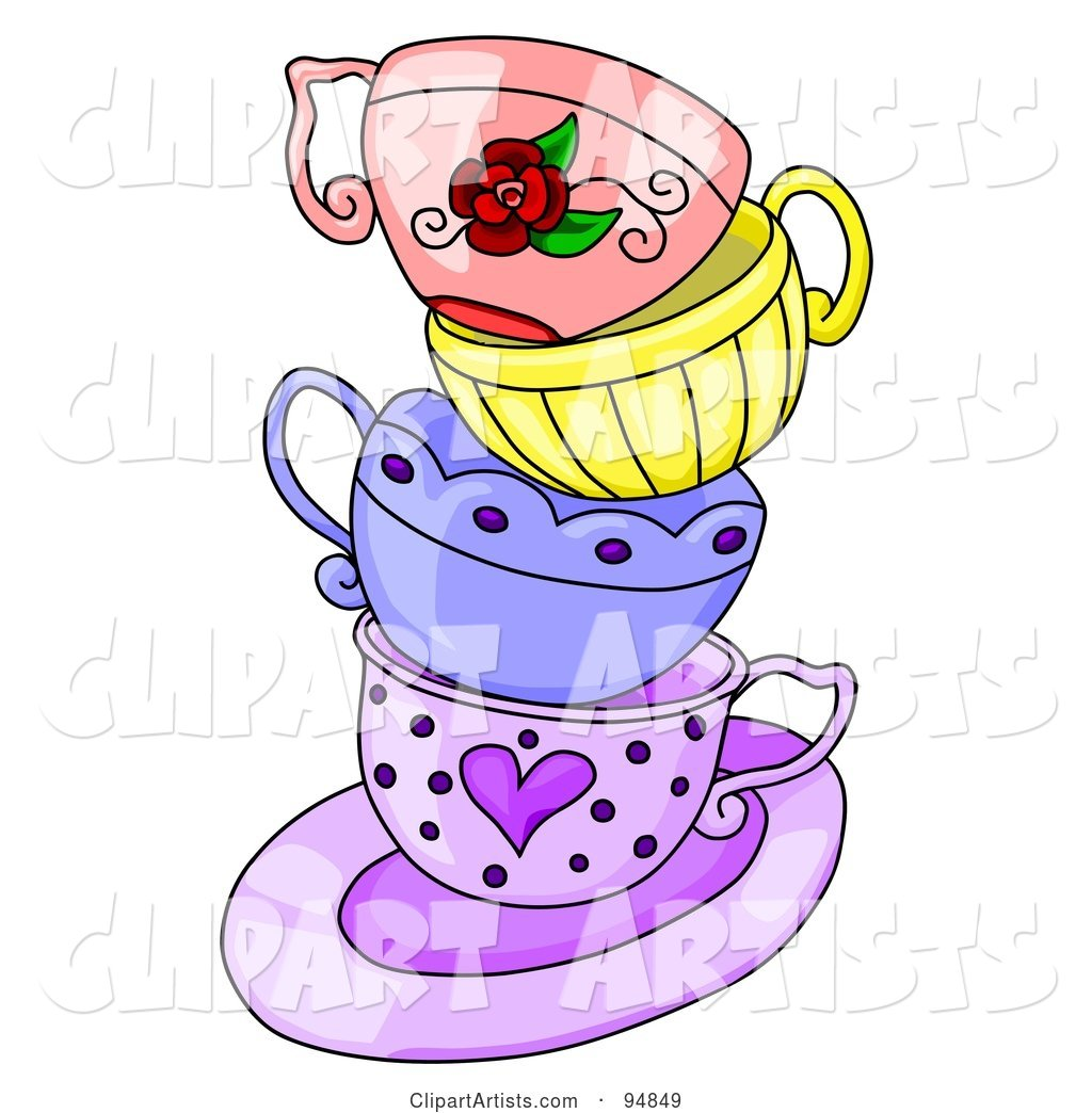 Messy Stack of Colorful Tea Cups on a Purple Saucer