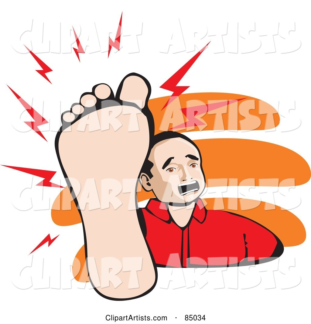 Mexican Man Holding up His Painful Foot
