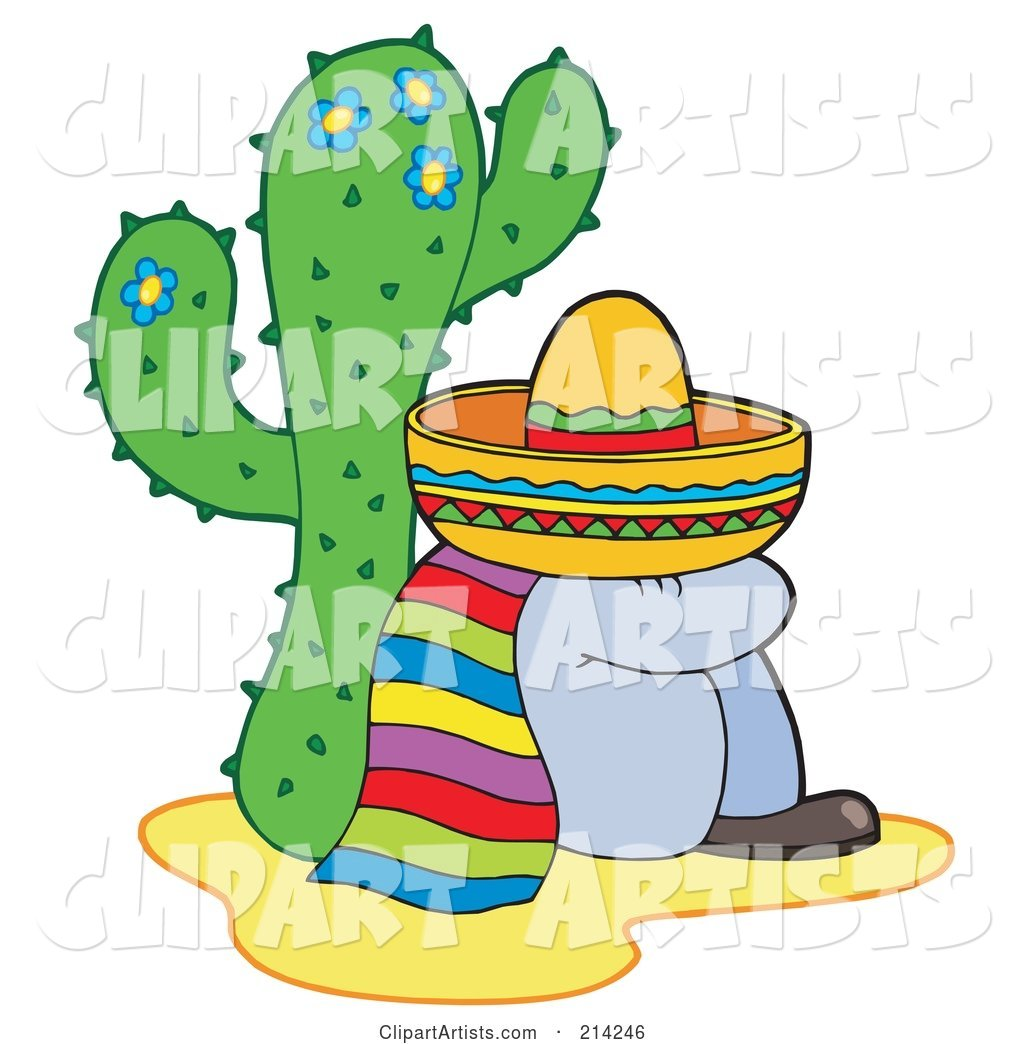 Mexican Man Resting by a Cactus
