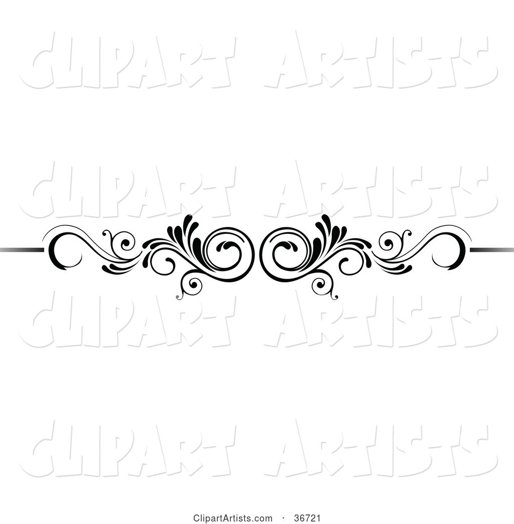 Mirrored Black and White Scroll Lower Back Tattoo Design or Flourish with Tendrils